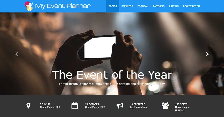 Event Planner: An event landing theme