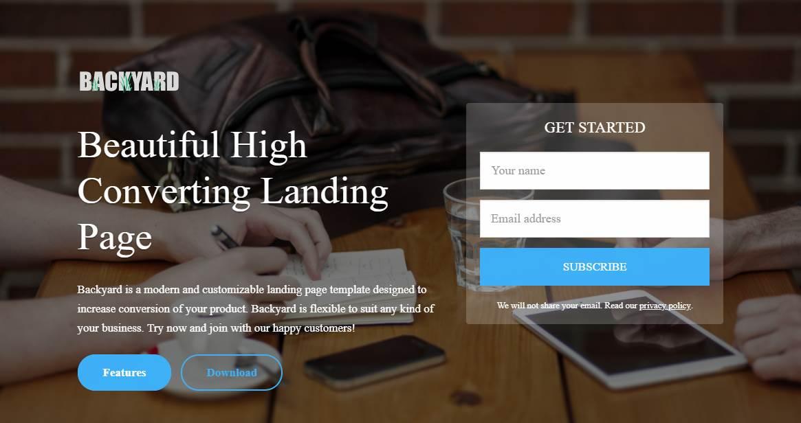 Backyard: A High Converting Landing Page