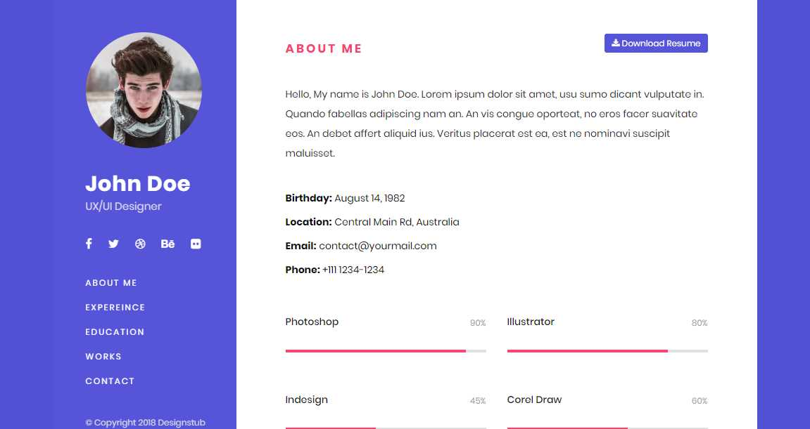 single page bootstrap resume template