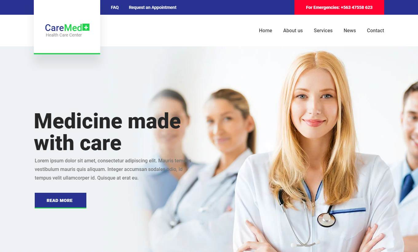 Caremed: a Health and Medical Template for Doctors, Clinics and Hospitals