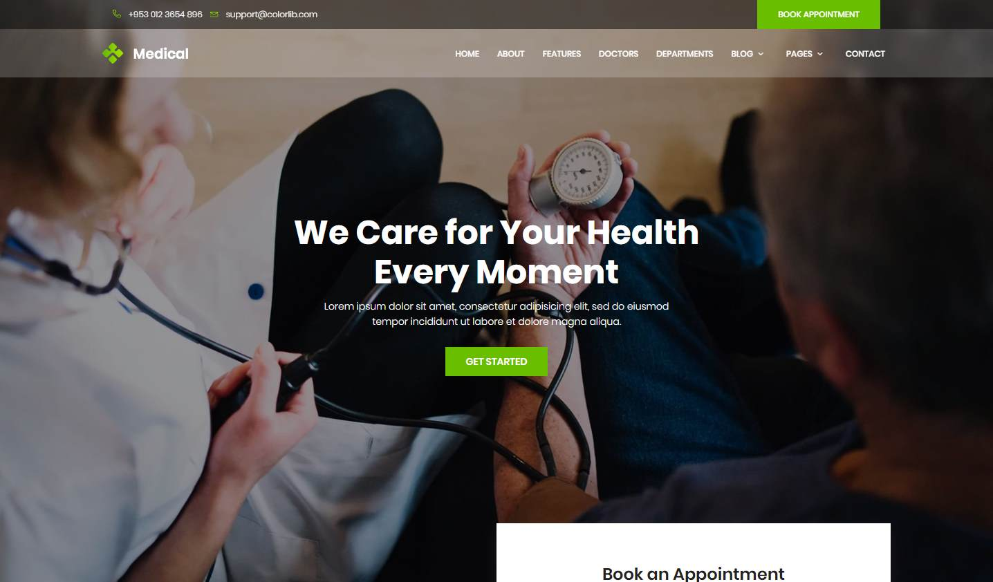 Medical 2: a Dynamic and Free Medical Clinic Website Template