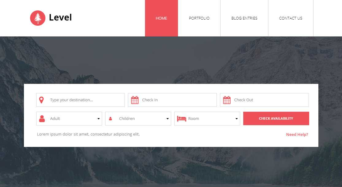 Level: A Travel/Hotel Booking Website Template