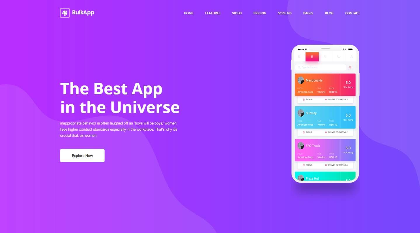 Bulkapp: a free mobile app website template | best free html/css.