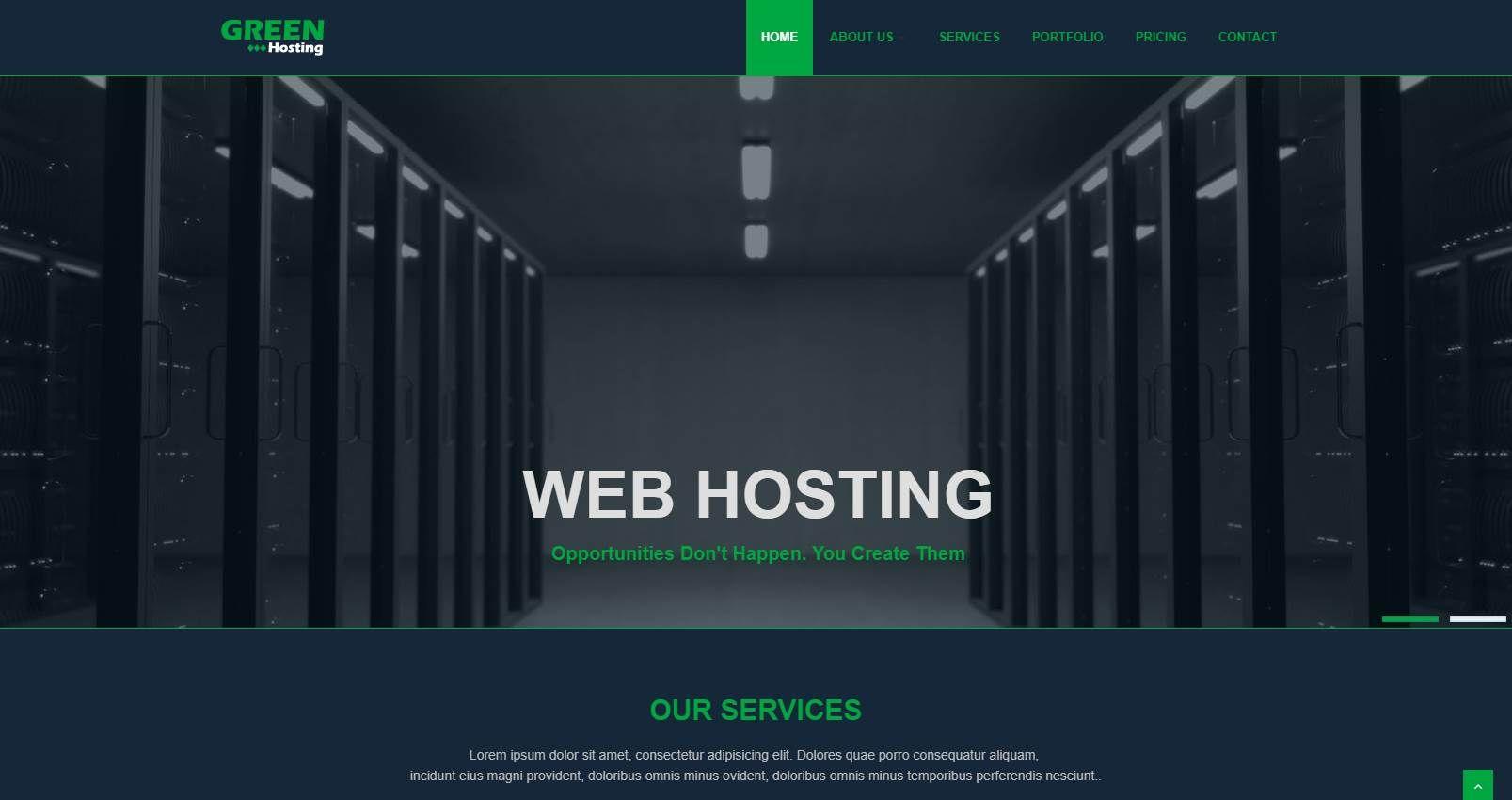 Green: A Free Web Hosting Website Template